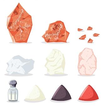 Rosa del himalaya y sal de roca, azúcar, pimienta y otras especias. conjunto de iconos de minerales crudos para cocinar aislado