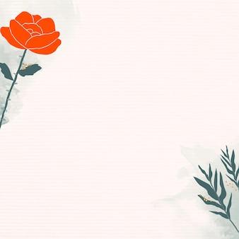 Rosa y hojas de fondo mínimo.