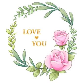 Rosa y hojas guirnalda - ilustración vectorial