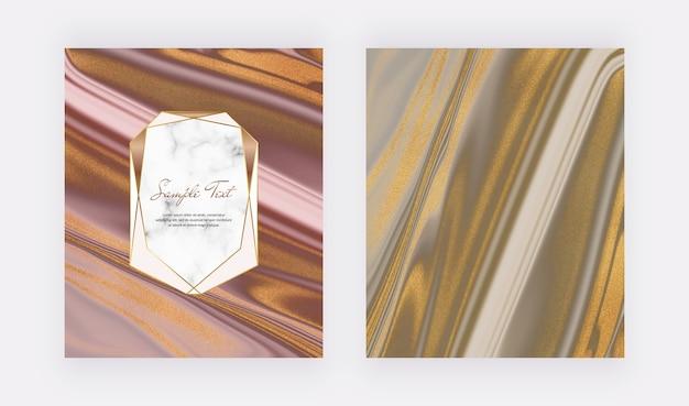 Rosa con marco geométrico y tarjetas de mármol líquido marrón dorado brillo