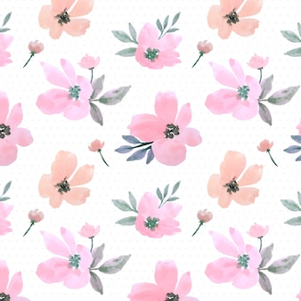Rosa pastel acuarela floral hojas de patrones sin fisuras