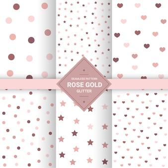 Rosa patrones sin fisuras de oro.