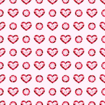 Rosa piedras preciosas joyas vector de patrones sin fisuras