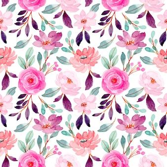 Rosa púrpura acuarela floral de patrones sin fisuras