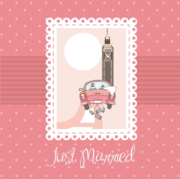 Rosa recién casada tarjeta fondo vector illustratlion