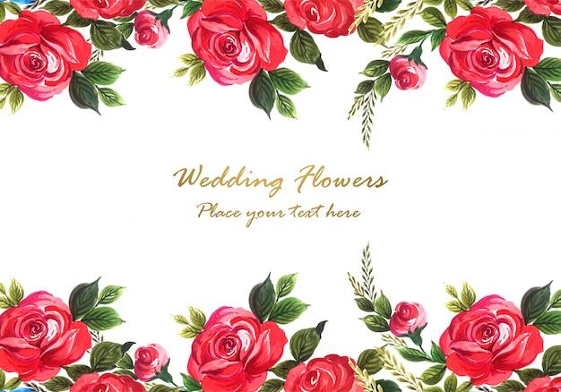 Rosa roja decorativa hermosa con plantilla de tarjeta