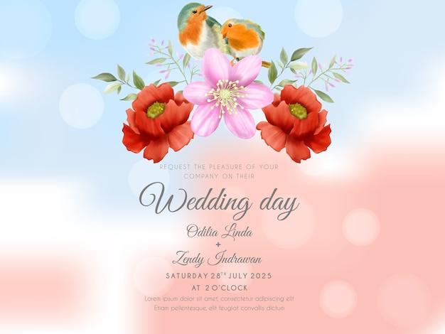 Rosa roja con fondo de acuarela de pájaro plantilla de invitación de boda