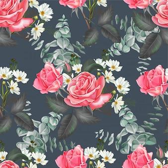 Rosa rosa y cosmos flor de patrones sin fisuras en gris