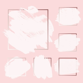 Rosa, rosa, dorado, pincel, tinta, pintura, trazo de tinta con fondos de marco cuadrado establecidos