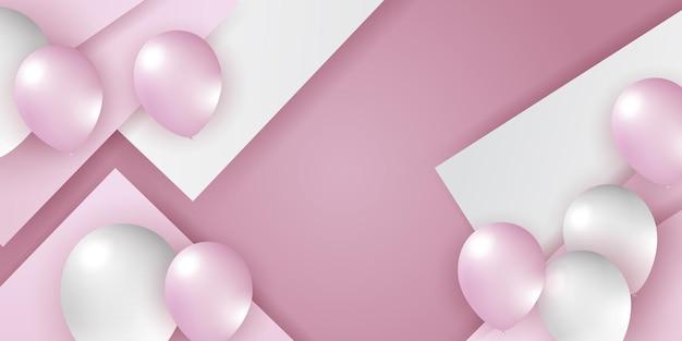 Rosa rosa globos blancos confeti concepto diseño plantilla vacaciones feliz día fondo celebración v ...
