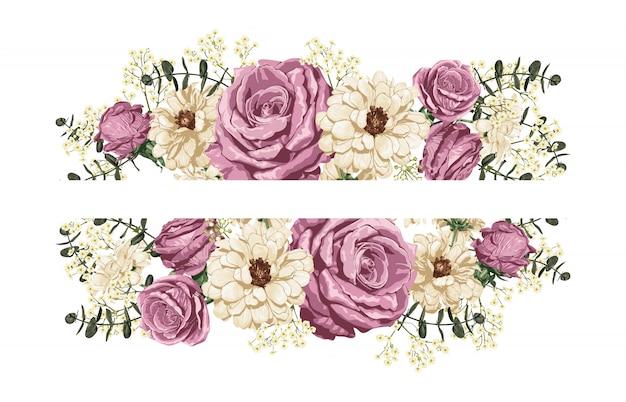 Rosa rosa y margaritas blancas, borde superior e inferior decoración.