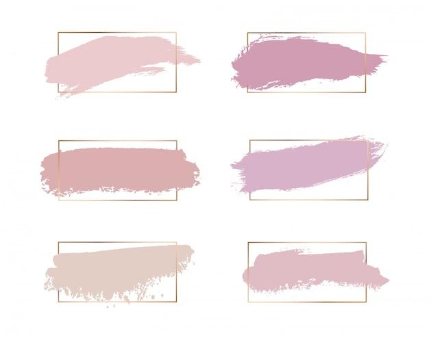 Rosa rosa, melocotón, textura de acuarela de trazo de pincel de colores con marcos de líneas doradas.