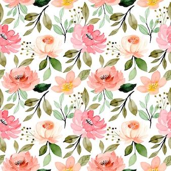 Rosa verde floral acuarela de patrones sin fisuras