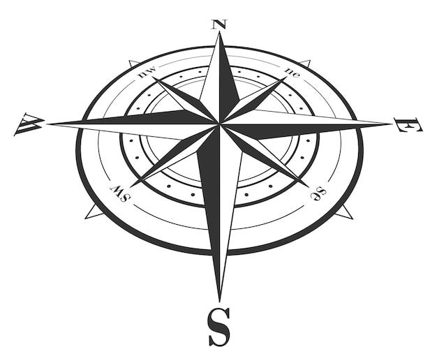 Rosa de los vientos aislado en blanco. ilustración vectorial.