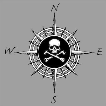 Rosa de los vientos y calavera pirata. ilustración