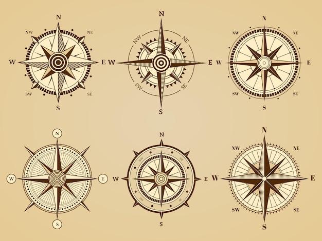 Rosa de los vientos. símbolos de viajes marinos náuticos para símbolos retro de vector de mapa de navegación oceánica antigua. ilustración oeste y sur, norte y este directo