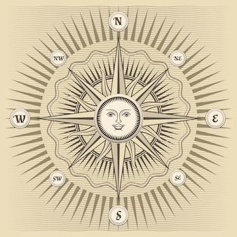 Rosa de los vientos vintage con el sol en el centro