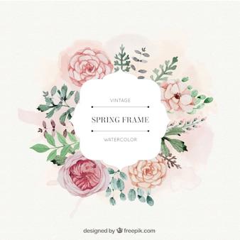 Rosas de la acuarela y hojas de cuadro de primavera