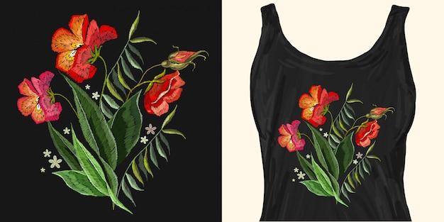 Rosas bordadas