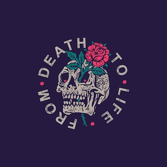 Rosas y cráneo viejo sello ilustración