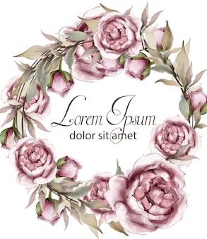 Rosas delicadas guirnaldas marco acuarela