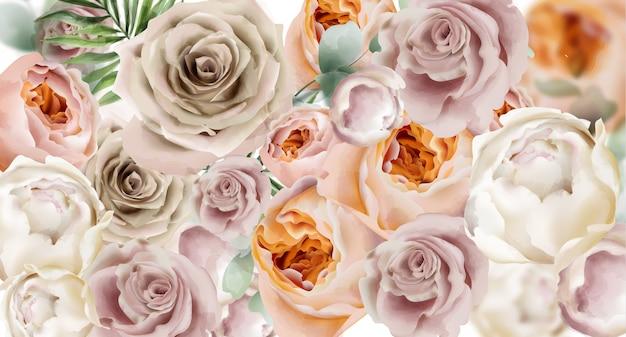 Rosas fondo acuarela