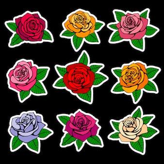 Rosas de moda parches y pegatinas en diseño de estilo años noventa.