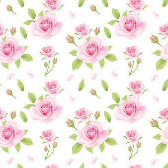 Rosas patrón rosa sin costura