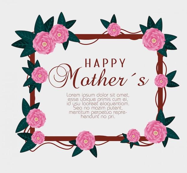 Rosas con ramas hojas para la celebración del día de la madre