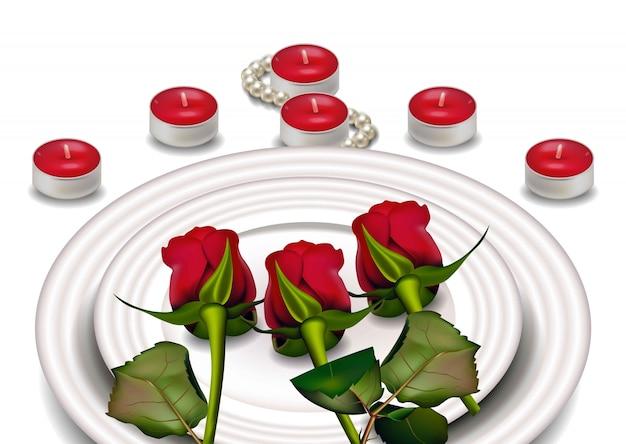 Rosas rojas en platos blancos, composición romántica del día de san valentín