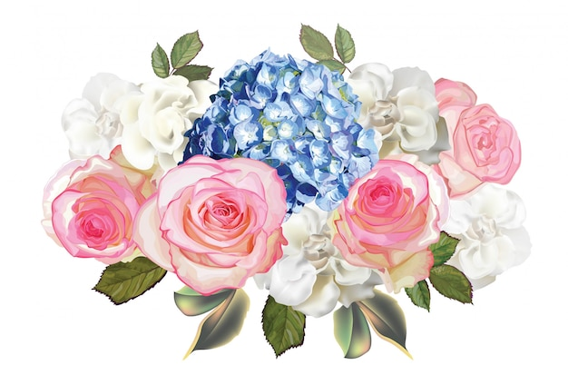 Rosas rosas, hortensias y flores de begonia