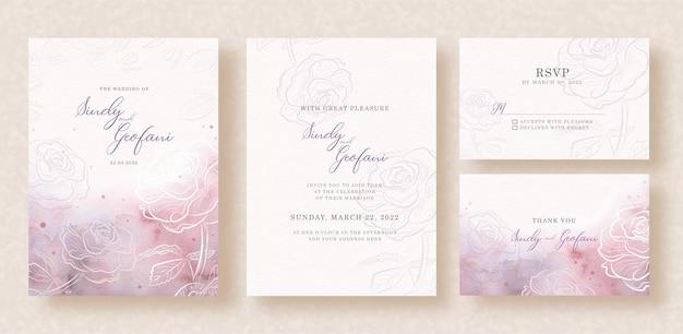 Rosas de silueta con colores de salpicaduras mezclados sobre fondo de invitación de boda