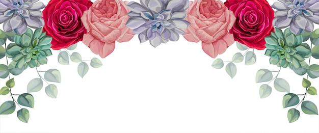 Rosas, suculentas y hojas tropicales ilustración vectorial
