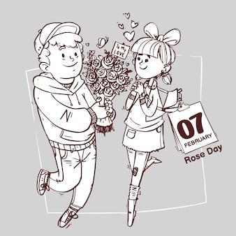 Rose day line art super lindo amor alegre romántico valentine pareja citas regalo dibujado a mano ilustración de contorno