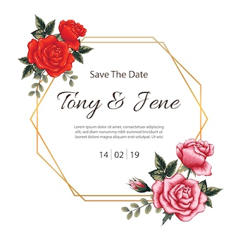 Rose florece la invitación de la boda de la vendimia.
