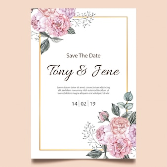 Rose florece la tarjeta de la invitación de la boda del vintage