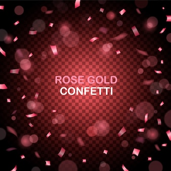 Rose gold glitter confetti party background