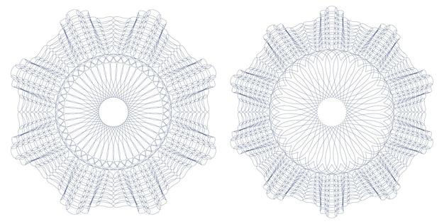 Roseta de patrón labrada para certificado, diploma, vale, boleto. marco circular abstracto