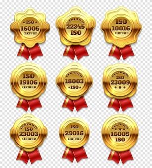 Rosetas certificadas doradas, tokens verificadas doradas y sellos de garantía establecidos.