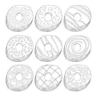 Rosquillas decoradas con glaseado conjunto de ilustraciones de contorno