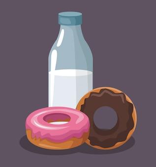 Rosquillas dulces y botella de leche