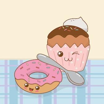Rosquillas dulces y personajes kawaii de la magdalena.