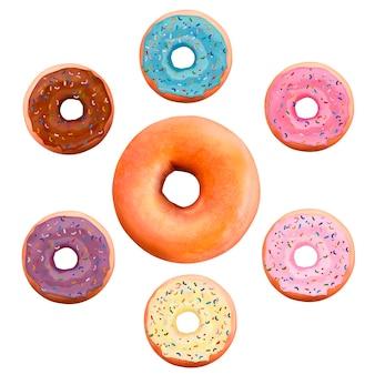 Rosquillas espolvoreadas de colores en diferentes sabores, ilustración 3d