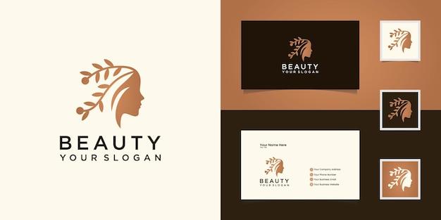 Rostro de belleza de mujer y logotipo de cabello natural y tarjeta de visita