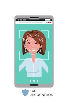 Rostro femenino en la pantalla del teléfono inteligente grande