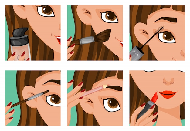 Rostro femenino con pasos de maquillaje
