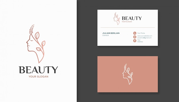 Rostro de mujer combinado con diseño de logotipo de hoja y tarjeta de visita.