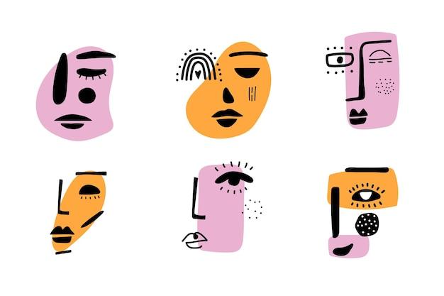 Rostro de mujer contemporánea abstracta. signo de belleza de moda moderna. símbolo de rostro femenino. dibujo colorido de arte lineal. arte creativo del doodle a mano alzada. ilustración vectorial
