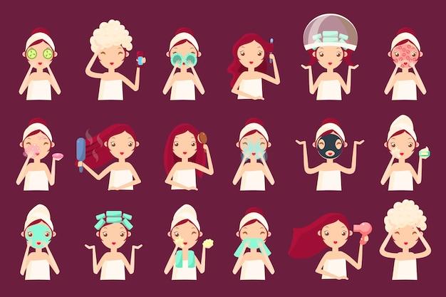 Rostro de mujer con diferentes procedimientos de cosmetología facial.