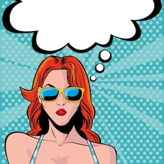 Rostro de mujer con gafas de sol y bocadillo, diseño de ilustración de estilo pop art